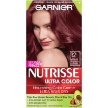 Garnier Nutrisse Ultra Color Nourishing Permanent Hair Color Cream, R2 Medium Intense Auburn (1 Kit) Red Hair Dye (Packaging May Vary), Pack of 1