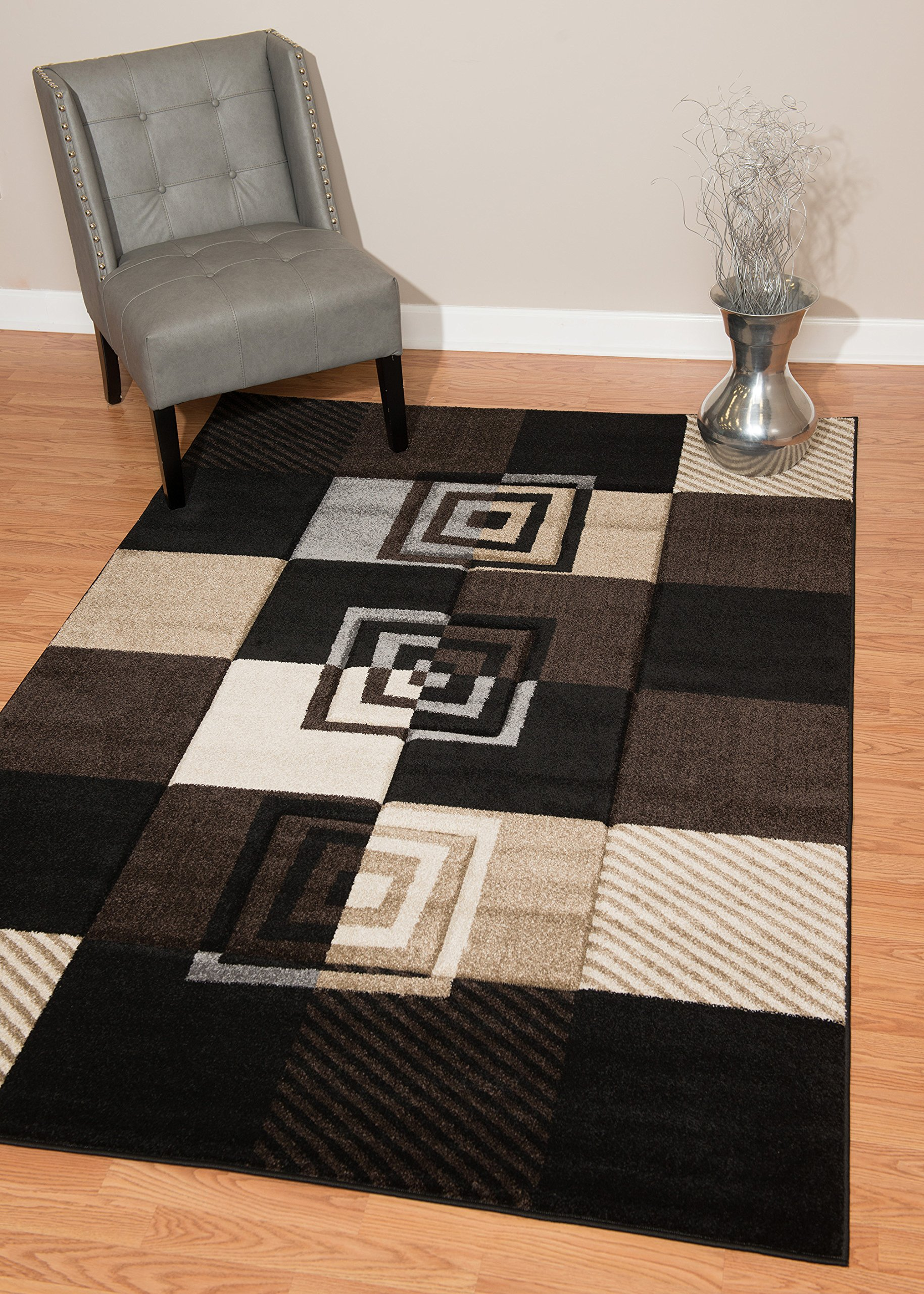 United Weavers of America Townshend Collection Vibes Modern Area Rug, 5-Feet 3-Inch by 7-Feet 6-Inch, Black