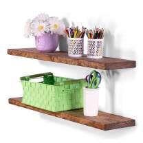 "DAKODA LOVE 36"" x 8"" Rugged Distressed Solid Wood Floating Shelves | Premium Handmade Quality | Easy Hidden Bracket Wall Mount | Farmhouse Rustic Pine | Set of 2 (Buckskin)"