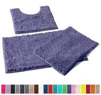 LuxUrux Bathroom Rugs 3pc Non-Slip Shaggy Chenille Bathroom Mat Set, Includes U-Shaped Contour Toilet Mat, 20 x 30'' and 16 x 24'' Bath Mat, Machine Washable (3 Pc Set - Style A, Blue-Purple)