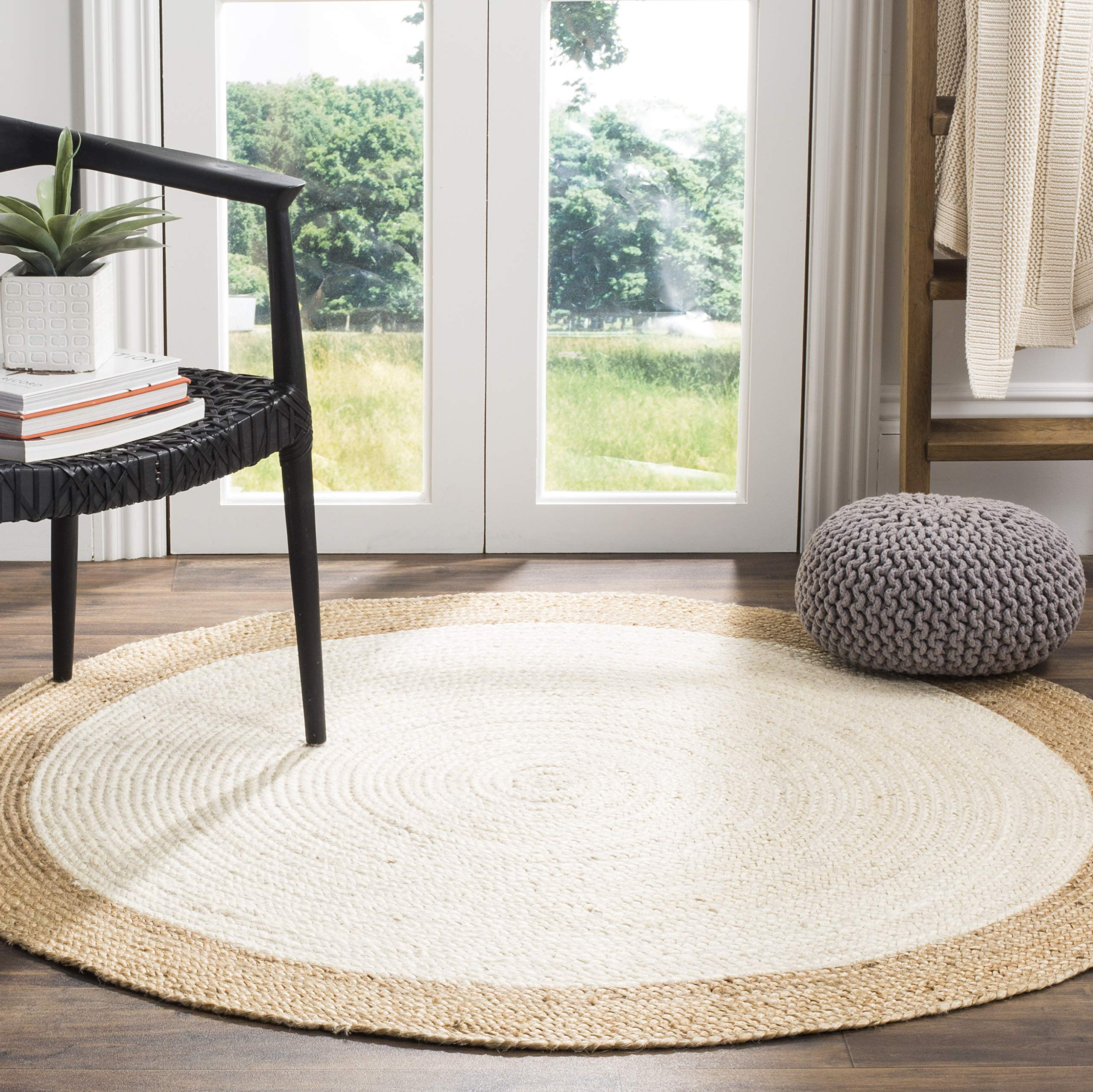 Safavieh Natural Fiber Collection NF801M Hand-Woven Ivory and Natural Jute Round Area Rug (8' in Diameter)