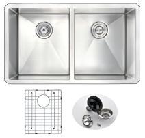 """ANZZI Vanguard 32"""" Farmhouse Stainless Steel 50/50 Double Bowl Kitchen Sink in Brushed Satin with Strainer 