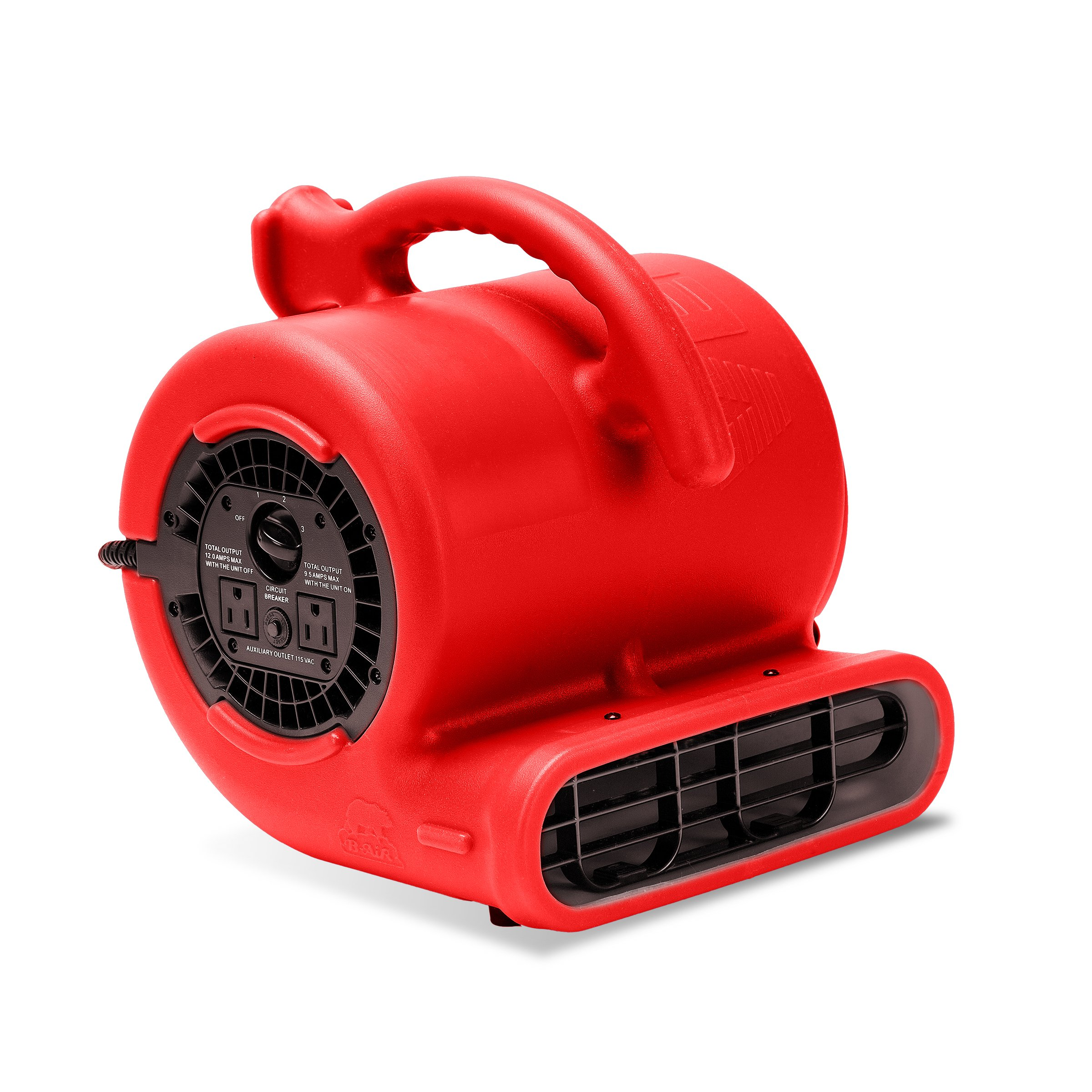 B-Air VP-25 1/4 HP 900 CFM Air Mover for Water Damage Restoration Equipment Carpet Dryer Floor Blower Fan Home and Plumbing Use, Red