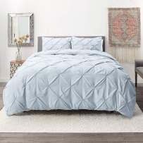 Nestl Bedding 3 Piece Pinch Pleat Duvet Cover Set   Ice Blue Duvet Cover with 2 Pillow Shams  Microfiber California King Duvet Cover Set