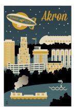 Akron, Ohio - Retro Skyline (Premium 1000 Piece Jigsaw Puzzle for Adults, 20x30, Made in USA!)