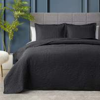 Hansleep Quilt Set Lightweight Bed Decor Coverlet Set Comforter Bedding Cover Bedspread for All Season Use (Black, Twin 68x90inch)