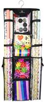 """Freegrace Double Sided Hanging Gift Wrap Organizer   Large 16"""" x 41"""" Wrapping Paper Rolls Storage Bag   Tearproof & Space Saving Closet Gift Bag Organization Solution (Black)"""
