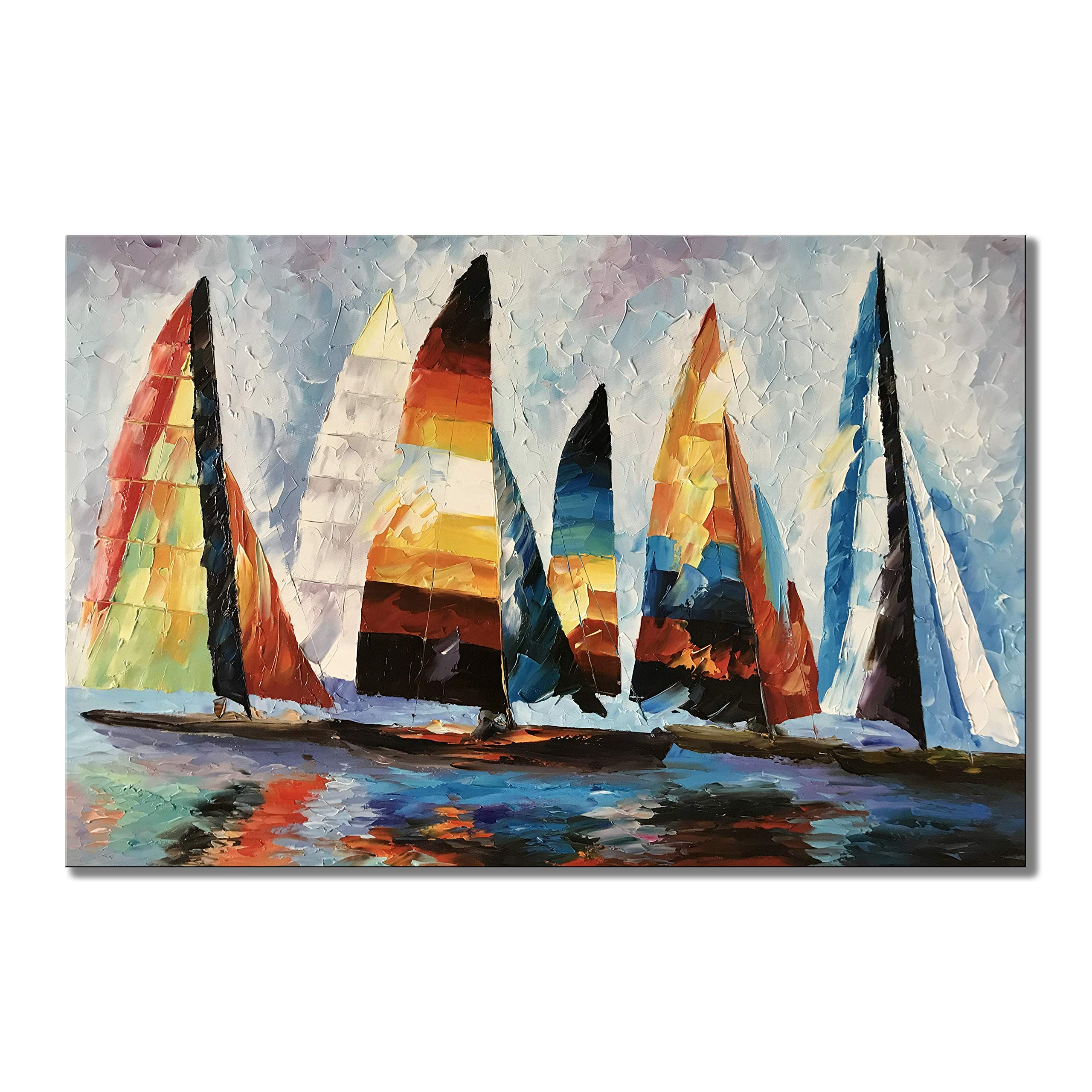 zoinart 100% Hand Painted Oil Paintings 24x36 inch Abstract Modern Canvas Wall Art Knife Painting Sailboat Artwork Home Decorations for Living Room Bedroom Dining Room Wall Decor Ready to Hang