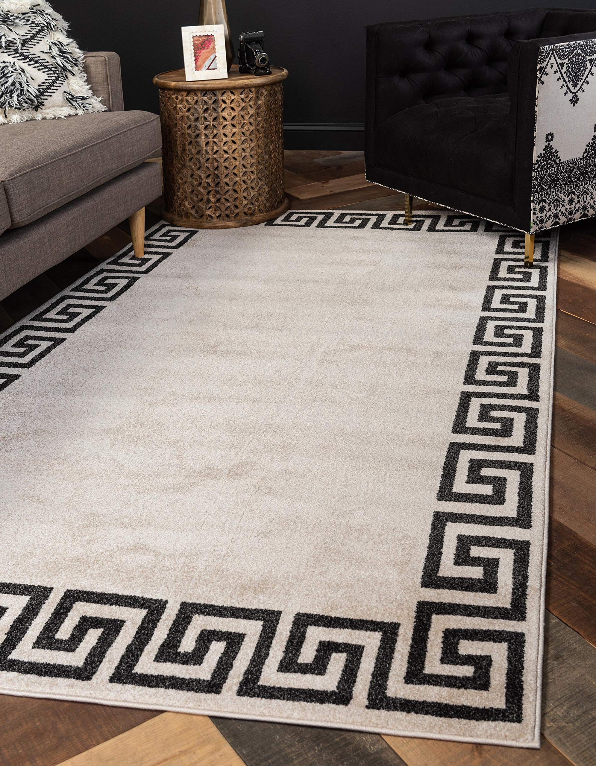 Unique Loom Athens Geometric Casual Area Rug, 5' x 8' Rectangle, Beige/Black