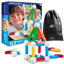 Discovery Kids 51-Piece Magnetic Building Block Set with Storage Bag