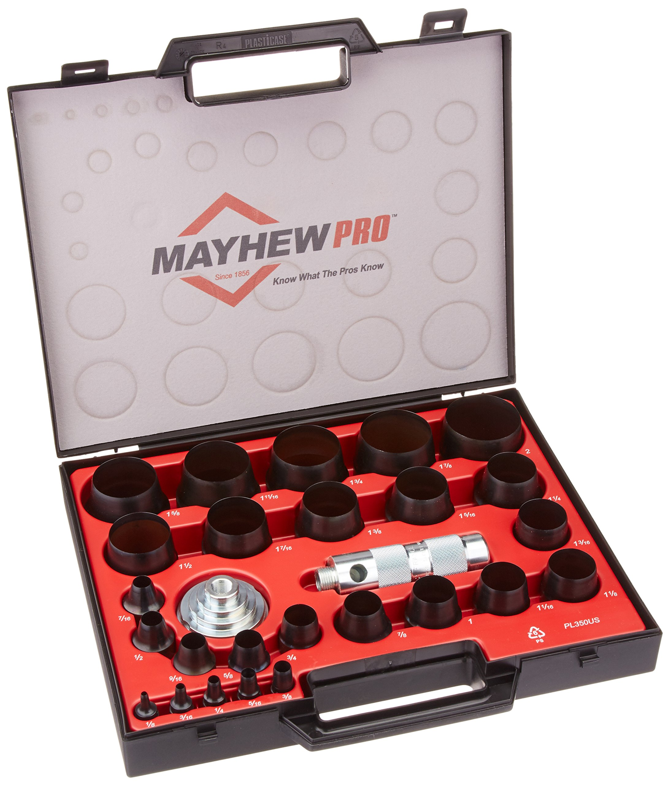 Mayhew Pro 66002 1/8-Inch to 2-Inch Imperial SAE Hollow Punch Set