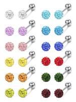 FIBO STEEL 12 Pairs Stainless Steel Stud Earrings Tragus Cartilage Earring with Screw Backs Jewelry Set