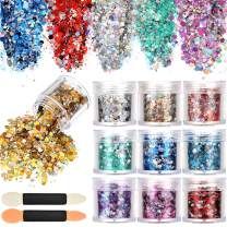 Tatuo 10 Boxes Nail Chunky Glitter Sequins Iridescent Flakes Cosmetic Paillette Ultra-thin Tips with 10 Pieces Eyeshadow Brushes for Face Body Hair Nails (Bright Colors)