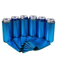QualityPerfection 6 Metallic Blue Slim Can Cooler Sleeve - Beer/Energy Drink Blank Skinny 12 oz Neoprene Coolie - Perfect For 12oz RedBull,Michelob Ultra,Truly,White Claw (6, Metallic Blue)