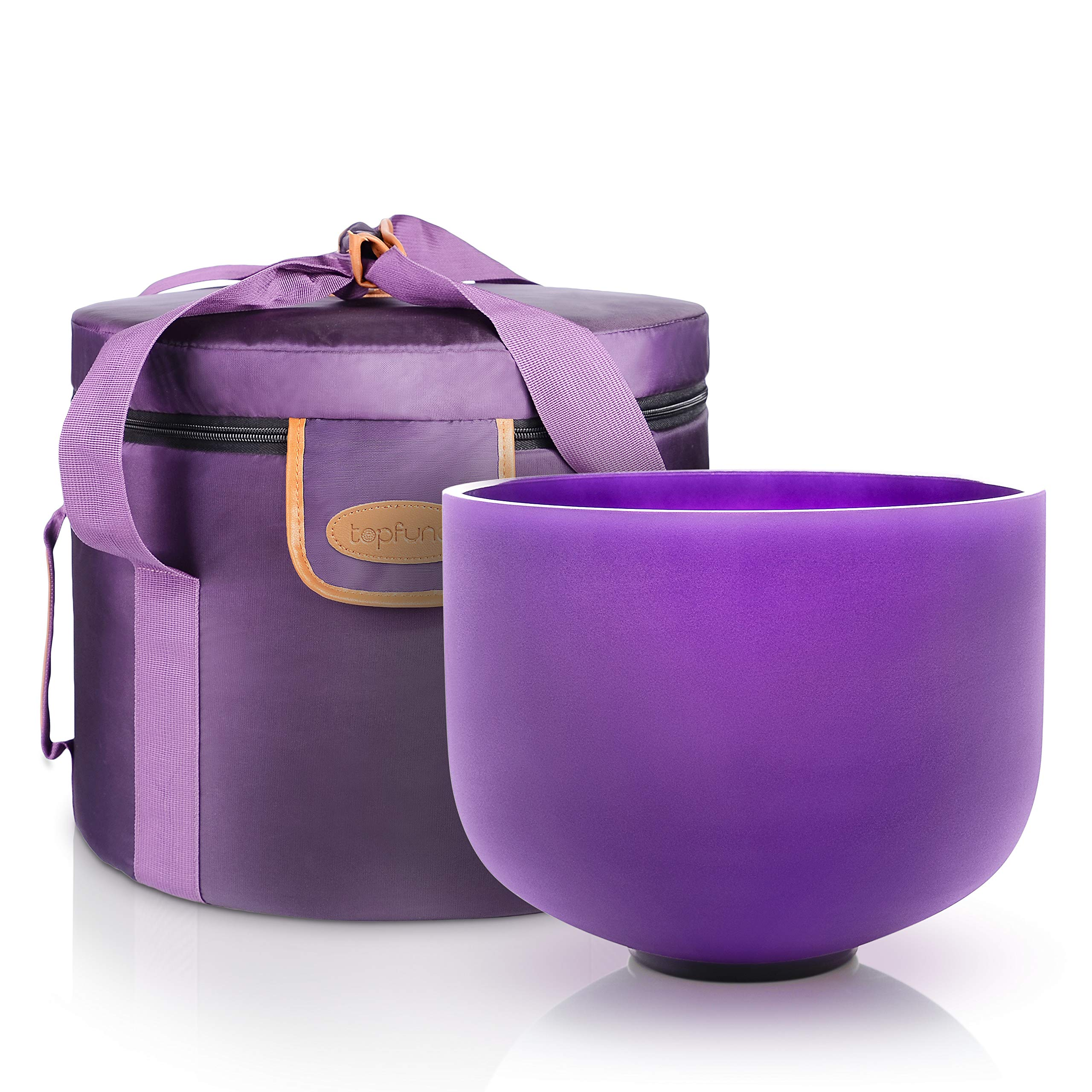 TOPFUND Purple Color B Note Crystal Singing Bowl Crown Chakra 12 inch with Heavy Duty Crystal Singing Bowl Case and Singing Bowl Mallet and O-ring