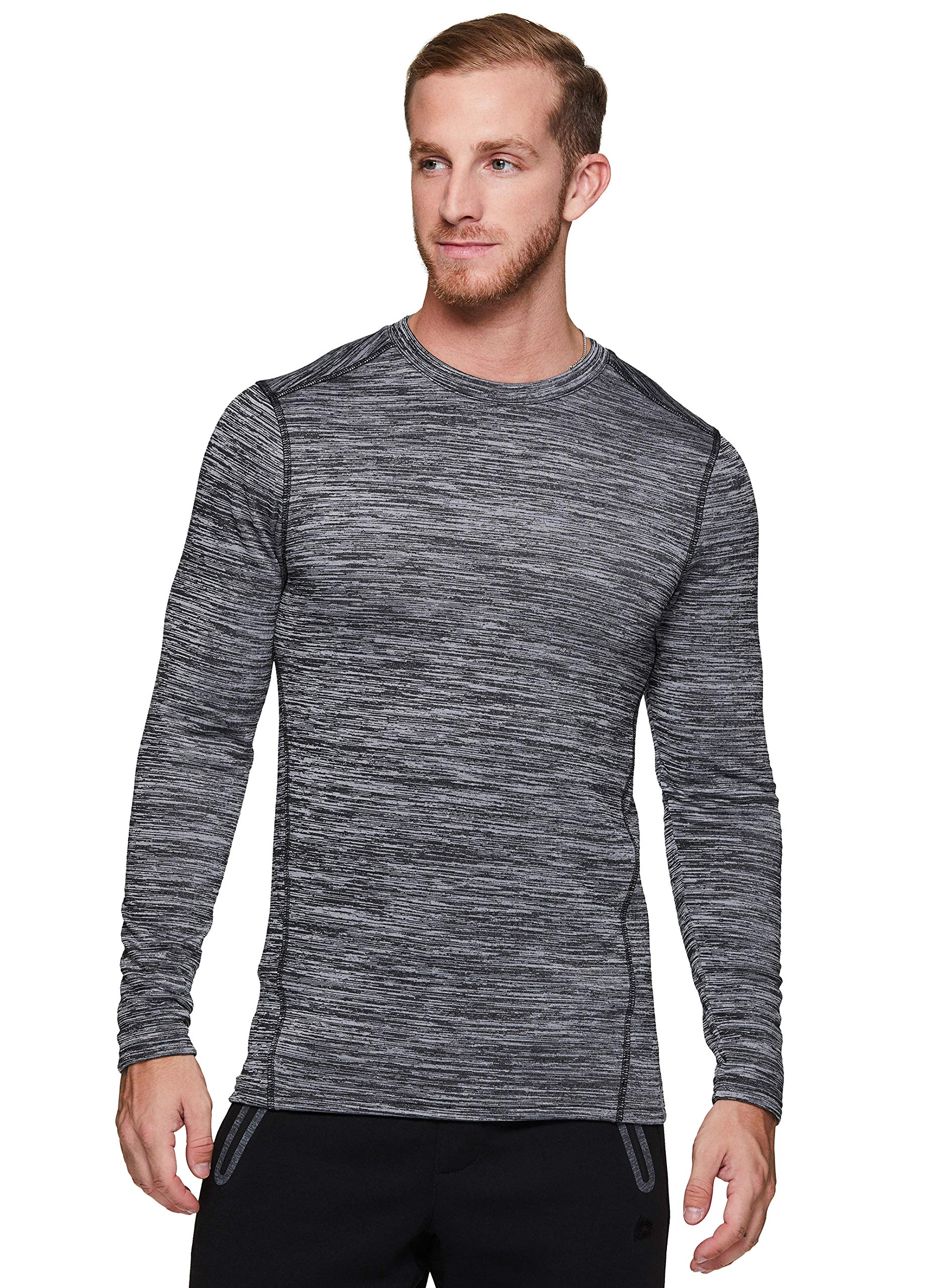 RBX Active Men's Athletic Performance Long Sleeve Crew Neck Fleece Lined Insulated Fitted Base Layer T-Shirt