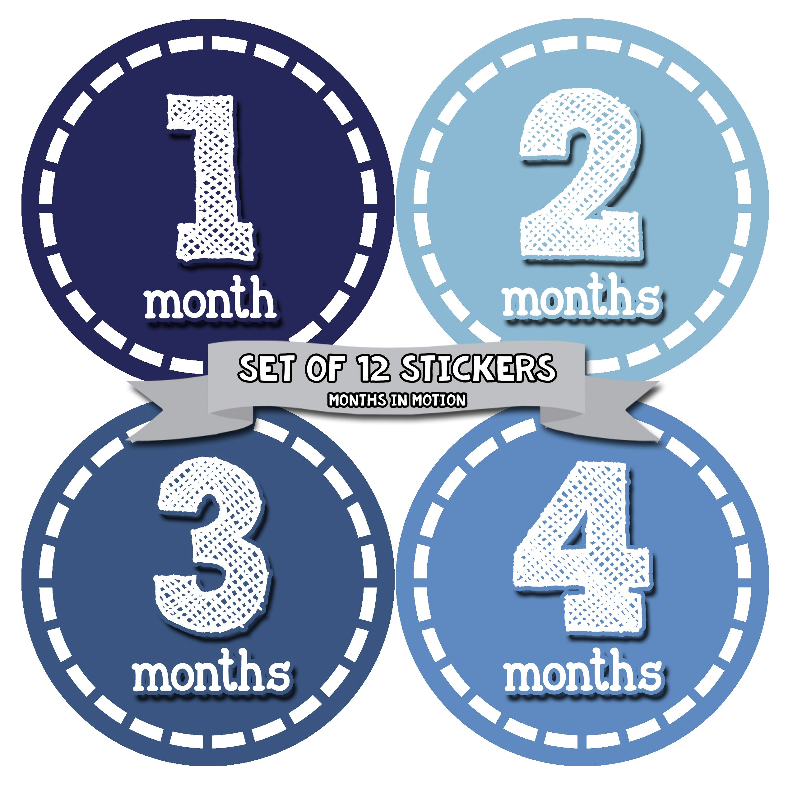 Months In Motion Baby Monthly Stickers - Baby Milestone Stickers - Newborn Boy Stickers - Month Stickers for Baby Boy - Baby Boy Stickers - Newborn Monthly Milestone Stickers
