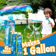 2 Giant Bubble Wands with 2 CONCENTRATED Bubble Refill Solution (Make 1 Gallon Total) for kids, Big Large Bubble Maker in Backyard, Outdoor Water Toy Game Activities, Birthday, Summer Party Favor.