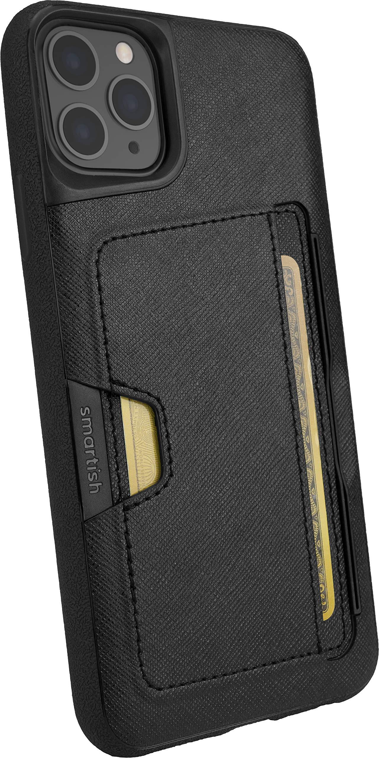 Smartish iPhone 11 Pro Max Wallet Case - Wallet Slayer Vol. 2 [Slim Protective Kickstand] Credit Card Holder (Silk) - Black Tie Affair