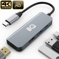 Updated 2020 Version USB C Hub for Home Working, 4-in-1 USB C Adapter with 4K USB C to HDMI, USB 3.0 and 2.0 Ports, for Nintendo Switch, MacBook Pro 2016/2017/2018/2019, ChromeBook, XPS, and More