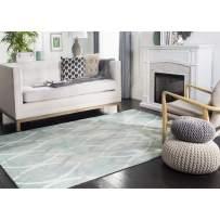 Safavieh Dip Dye Collection DDY534Q Handmade Modern Geometric Watercolor Green and Ivory Grey Wool Area Rug (4' x 6')