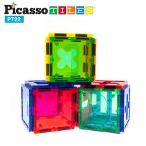 PicassoTiles PT22 Magnetic Building Blocks 22pc Numerical Magnet Tiles Educational Kit Toy Set 3D Clear Color Stacking Block STEM Playboard Novelty Game w/ Numbers, Roman Numerals, and Math Symbols