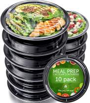 Meal Prep Containers - Reusable Plastic Containers with Lids - Disposable Food Containers Meal Prep Bowls - Plastic Food Storage Containers with Lids - Lunch Containers by Prep Naturals, 10 Pack