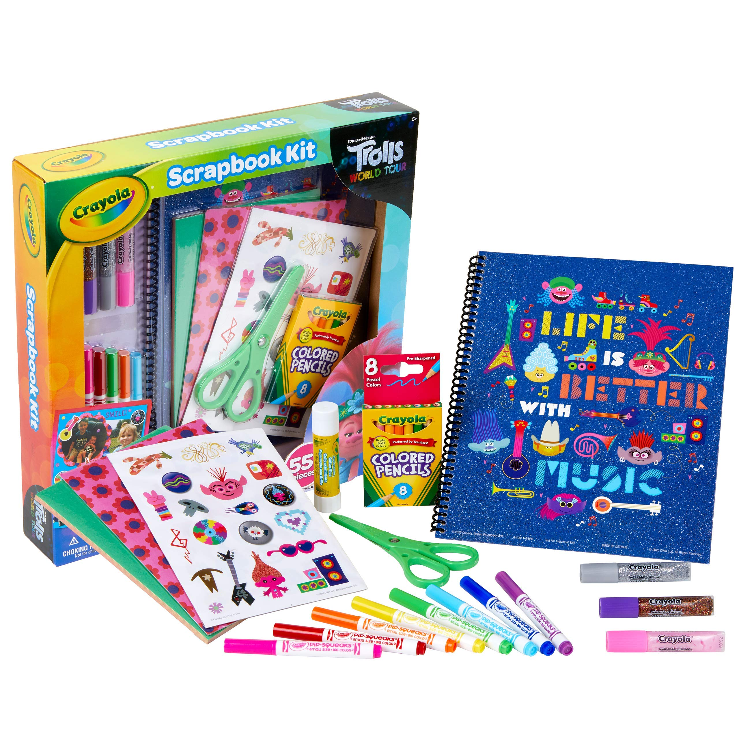 Crayola Trolls World Tour, Scrapbook Kit, Trolls 2, Over 60 Art Supplies, Gift for Kids, 5, 6, 7, 8