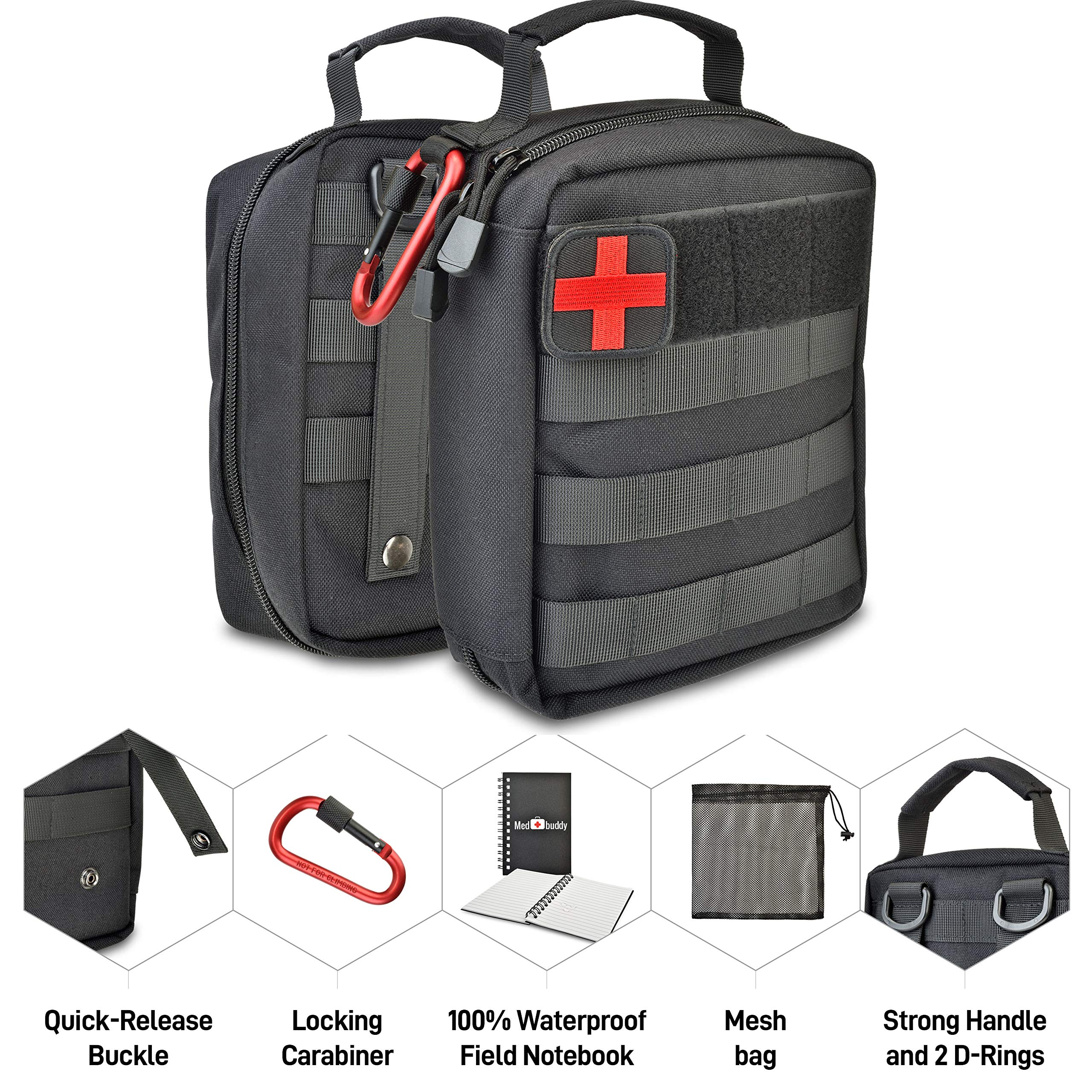 Tactical Outdoor Admin Pouch - Emergency Kit, Military Grade 1000D EDC, MOLLE, Utility Case + Waterproof Notebook, Locking Carabiner, Mesh Organizer, EMT - MedBuddy