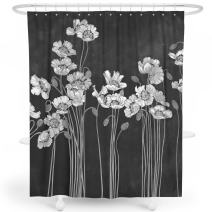 LIVETTY Shower Curtains Bathroom Black Wildlife Lotus Floral Flower Big Flowers White Oil Painted Florals Shower Curtain Set Polyester Machine Wash 72x72 Inch Hooks Included