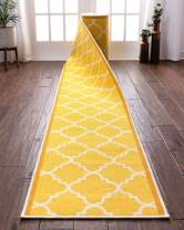 "Custom Size 22"" Wide By Select Your Runner Length Non-Slip Rubber Backed Machine Washable Hall Rug Dallas Moroccan Trellis Yellow Geometric Thin Low Pile Indoor Outdoor Kitchen Entry 22""x50' Runner"