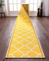 "Custom Size 22"" Wide By Select Your Runner Length Non-Slip Rubber Backed Machine Washable Hall Rug Dallas Moroccan Trellis Yellow Geometric Thin Low Pile Indoor Outdoor Kitchen Entry 22""x10' Runner"