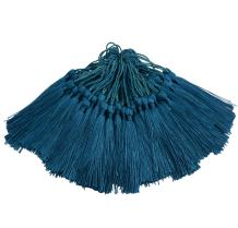 100pcs 13cm/5 Inch Silky Floss Bookmark Tassels with 2-Inch Cord Loop and Small Chinese Knot for Jewelry Making, Souvenir, Bookmarks, DIY Craft Accessory (Dark Teal)