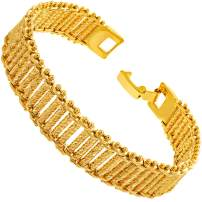 LIFETIME JEWELRY 13mm Riccio Bar Bracelet 24k Real Gold Plated for Women and Men with Free Lifetime Replacement Guarantee