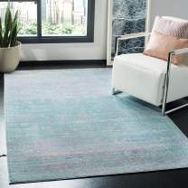 Safavieh Valencia Collection VAL203P Turquoise and Multi Distressed Watercolor Silky Polyester Area Rug (6' x 9')