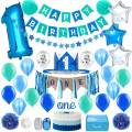 Baby 1st Birthday Boy Decorations in Sea Green and Blue - First Birthday Decorations Boy - High Chair ONE Banner Decorations in Star Theme   Cake Smash Party Supplies - Royal Prince Crown, Balloons