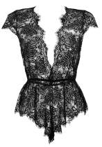 Anyou Womens Lingerie V Neck Lace Bodysuit Mini Babydoll Features Plunging Eyelash XS-XXL