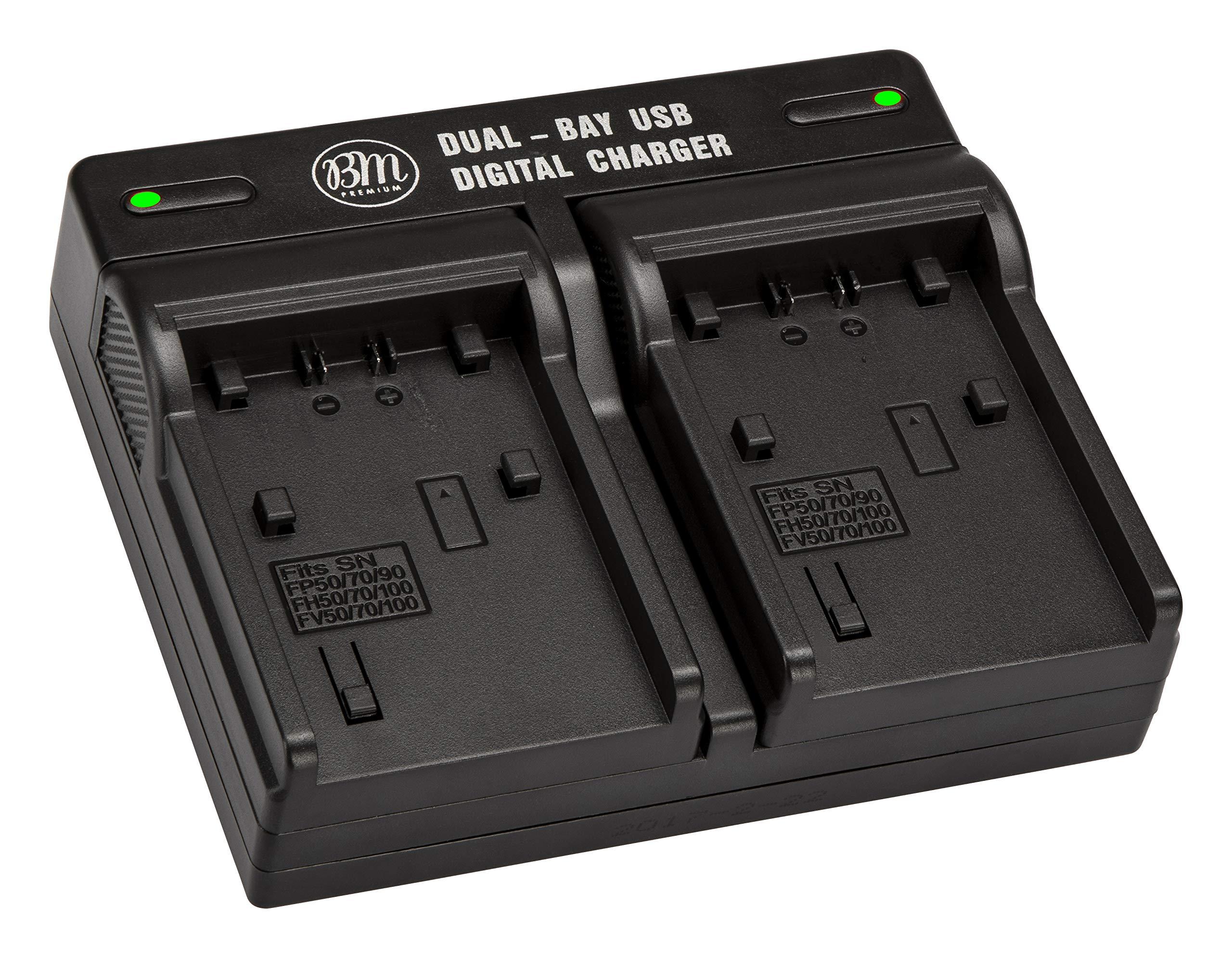 BM Premium NPFH50 Dual Battery Charger for Sony CyberShot DSC-HX100V, DSC-HX1, HDR-TG5V, DSCHX200V, Alpha DSLRA230, DSLRA290, DSLRA330, DSLRA380, DSLRA390 Digital Camera