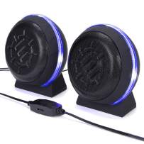 ENHANCE SL2 USB Computer Speakers with LED Blue Glowing Lights, 3.5mm Wired Connection and in-Line Volume Control - 5 Watt Drivers, 2.0 Sound System for Gaming Desktop, Laptop, PC Computers