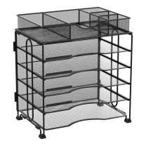 Kntiwiwo Office Organizers for Desk 5-Tier Desktop File Organizer with Sliding Drawers Metal Letter Tray Paper Organizer | Screws Free Design, Black