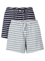 Genuwin Sleep Shorts for Women Cotton Pajama Bottom Sleeping Short Striped Lounge Short Pack of 2