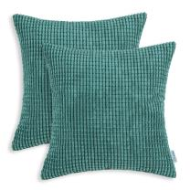 CaliTime Pack of 2 Comfy Throw Pillow Covers Cases for Couch Sofa Bed Decoration Comfortable Supersoft Corduroy Corn Striped Both Sides 16 X 16 Inches Teal