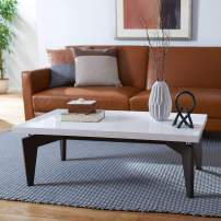 Safavieh Home Collection Josef Mid-Century Modern White and Dark Brown Coffee Table