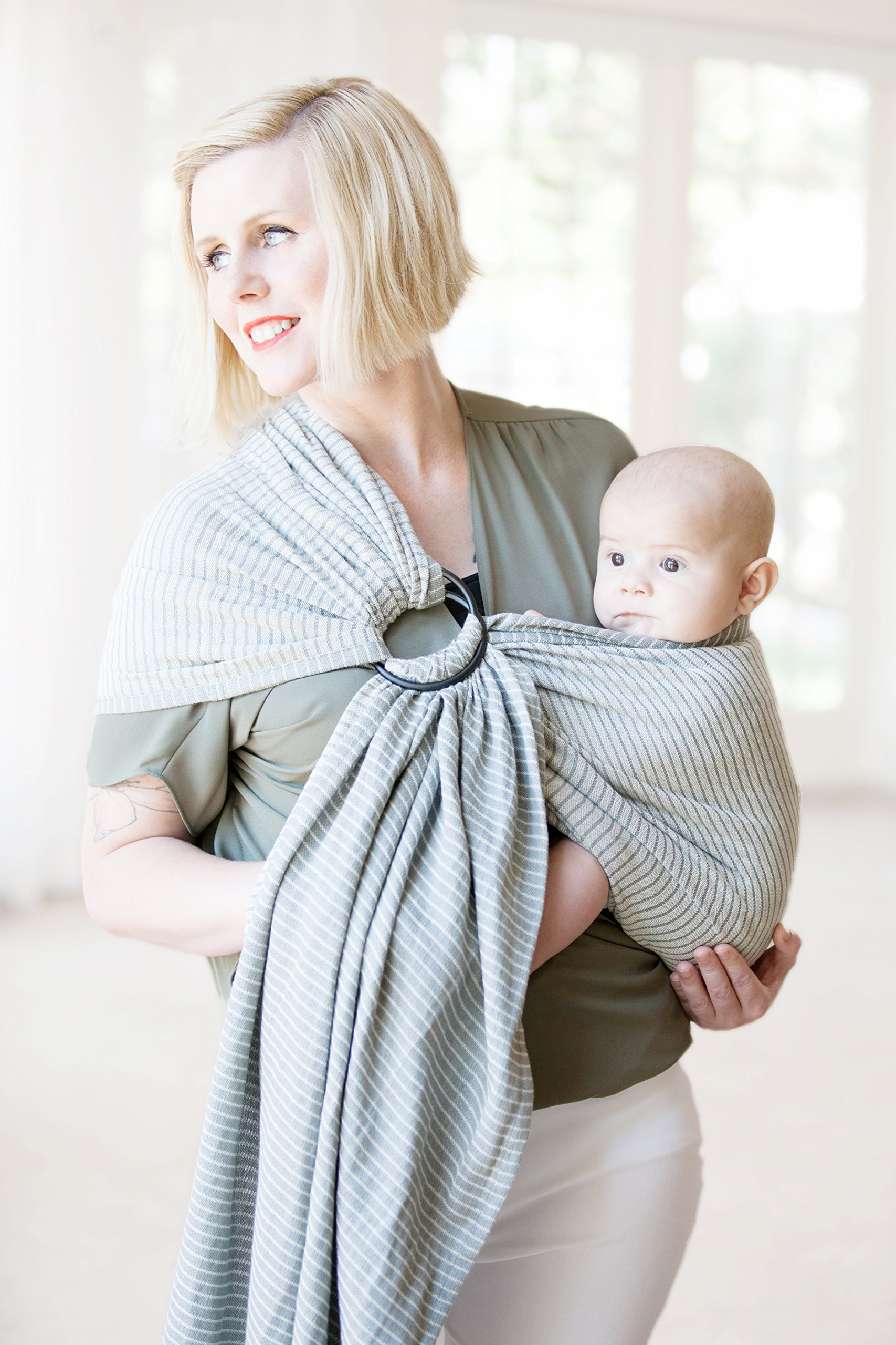 Moby Ring Sling Baby Carrier (Silver Streak) - Ring Sling Carrier For Babywearing -Baby Sling For Baby Wearing, Breastfeeding, And Keeping Baby Close - Baby Carrier For Newborns, Infants, and Toddlers
