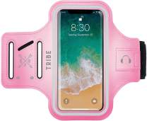 TRIBE Water Resistant Cell Phone Armband Case for iPhone 11, 11 Pro, 11 Pro Max, X, Xs, Xs Max, Xr, 8, 7, 6, Plus Sizes, Galaxy S10, S9, S8, S7, Plus Sizes and More! Adjustable Elastic Band & Key Slot