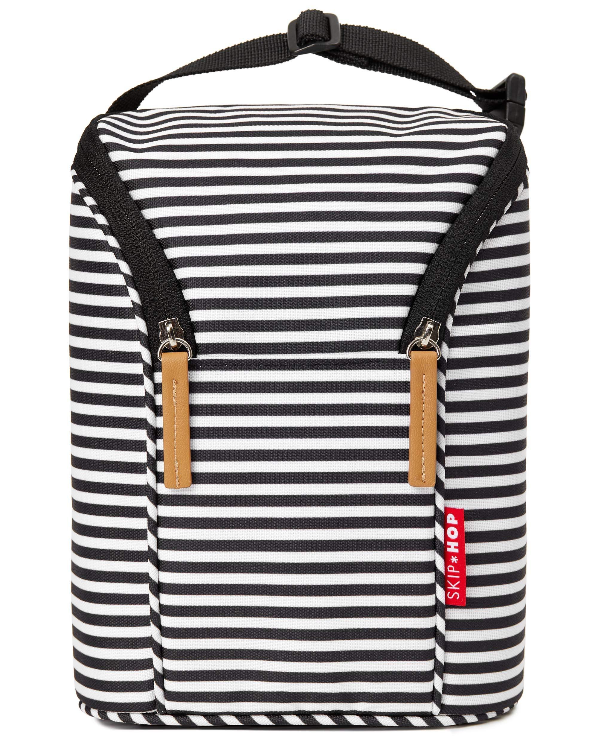 Skip Hop Insulated Breastmilk Cooler And Double Baby Bottle Bag, Black & White Stripe
