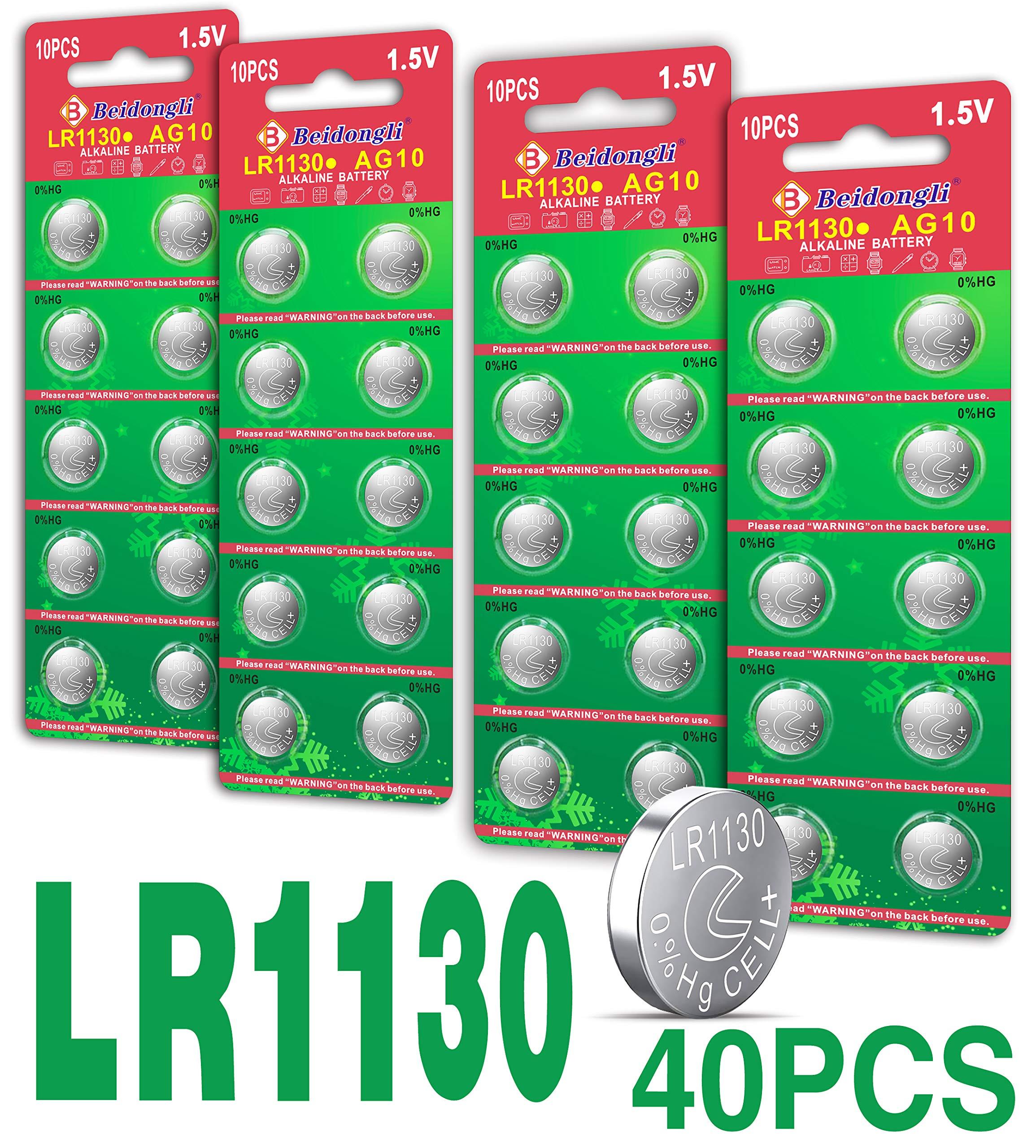 Beidongli AG10 LR1130, LR54, LR54, AG10 Battery 1.5V Button Coin Cell Batteries New (40 Pack)