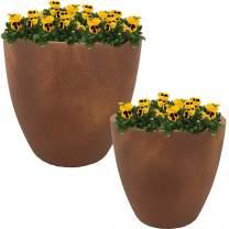Sunnydaze Rustic Villa Fiber Clay Planter Flower Pot, Durable Indoor/Outdoor 12-Inch and 15-Inch 2-Piece Set