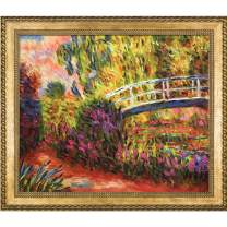"overstockArt The Japanese Bridge Lily Pond, Water Irises with Verona Gold Braid Framed Oil Painting, 28.75"" x 24.75"", Multi-Color"