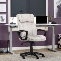Serta Hannah Microfiber Office Chair with Headrest Pillow, Adjustable Ergonomic with Lumbar Support, Soft Fabric, Ivory